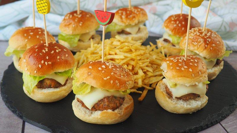 receta aperitivo de mini hamburguesa sin aceite