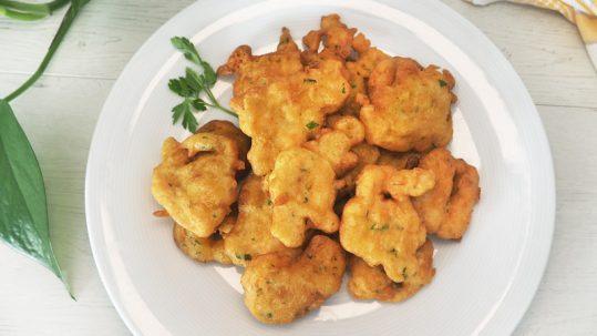 receta de buñuelos de gambas o langostinos