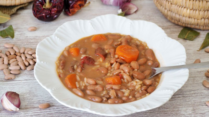 receta de alubias canela con arroz y verduras