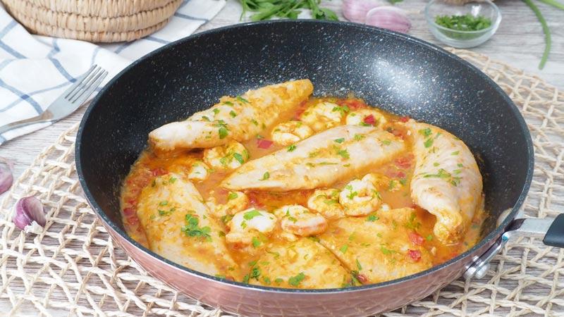 receta filetes de pescado en salsa de gambas receta facil y saludable