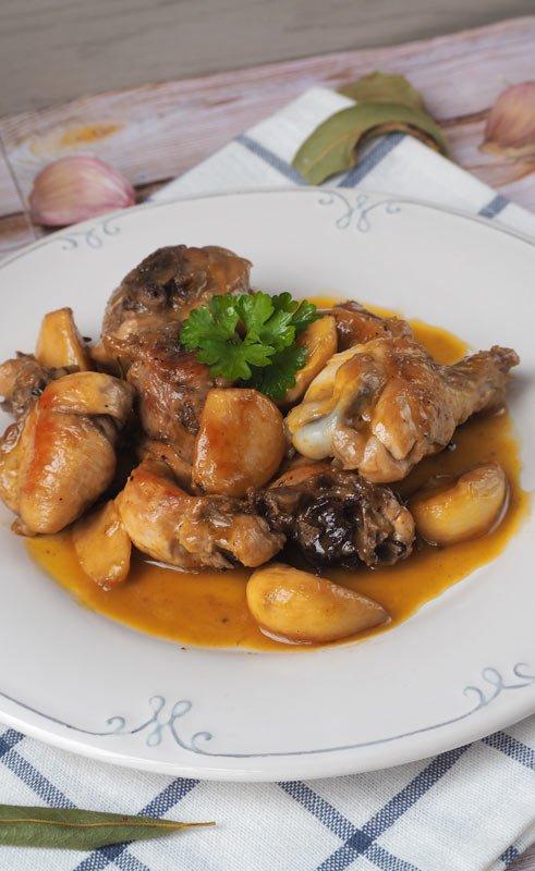 receta pollo al ajillo con vino blanco