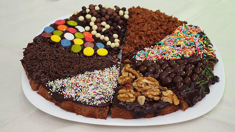 pizza de brownie como tarta de cumpleaños