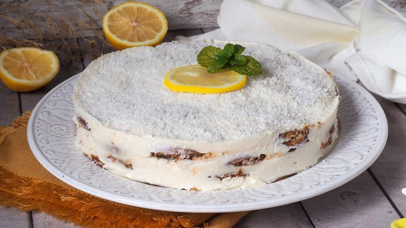 tarta de galletas, limon y coco sin horno muy facil