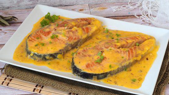 receta facil de pescado salmon con salsa cremosa de naranja
