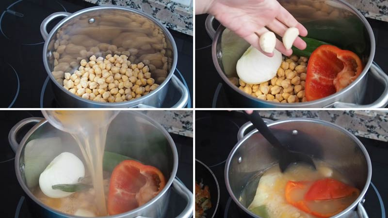 paso a paso potaje de garbanzos con langostinos y almejas