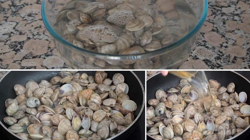 almejas para potaje de garbanzos con langostinos y almejas