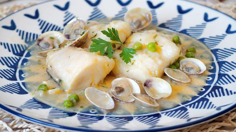receta paso a paso bacalao en salsa verde con almejas