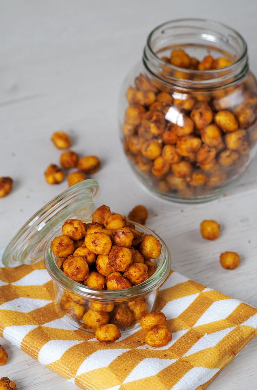 snack saludable de garbanzos especiados al horno