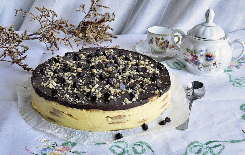 receta rapida tarta de galletas con flan y cobertura de chocolate