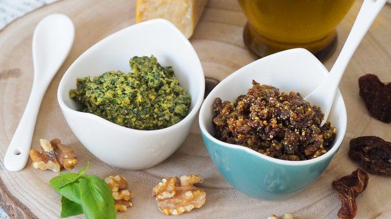receta salsa pesto verde y pesto rojo o pesto rosso