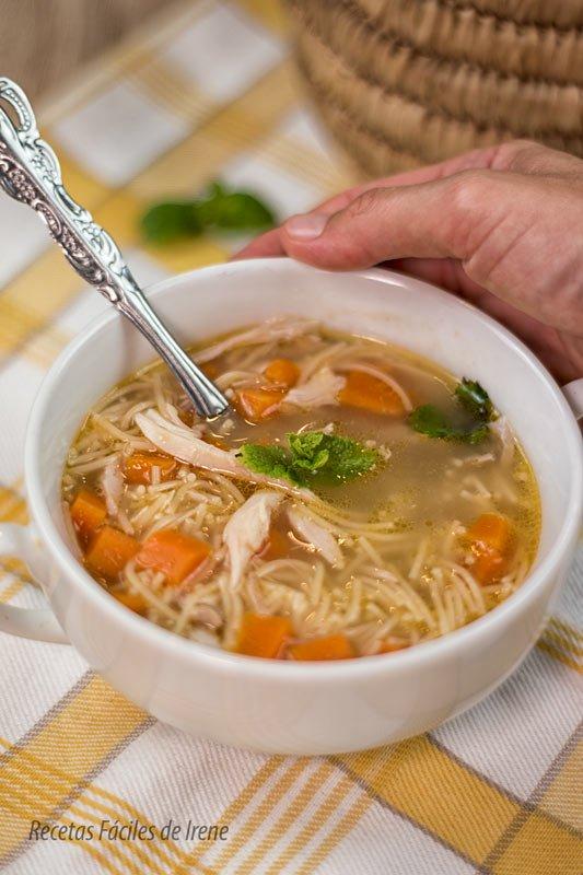 receta facil de sopa de pollo con fideos
