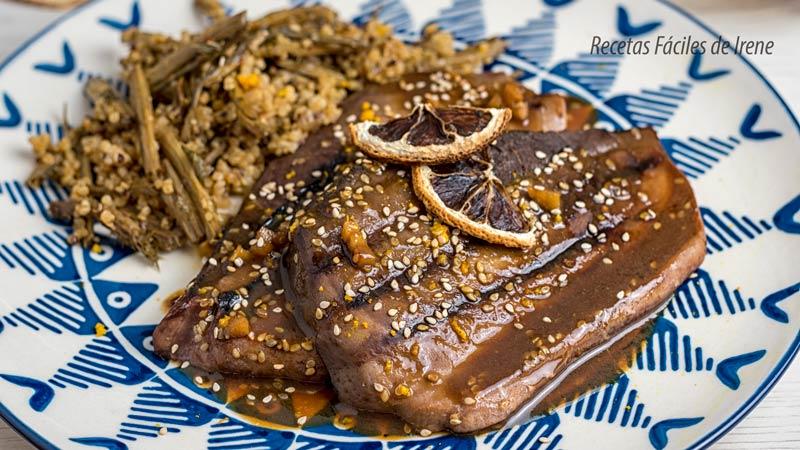 receta de pescado filetes de atun con salsa de naranja y soja