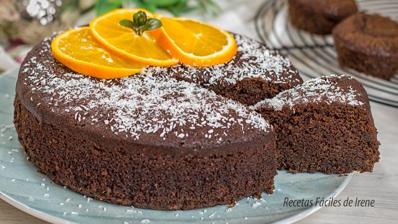 como hacer bizcocho de chocolate y naranja y almendras