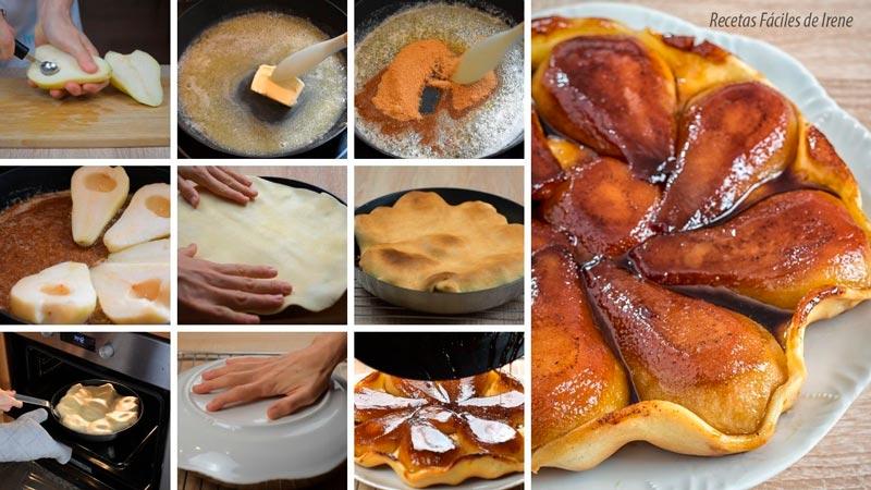 como hacer paso a paso tarta tatin de peras o tarta de pera facil