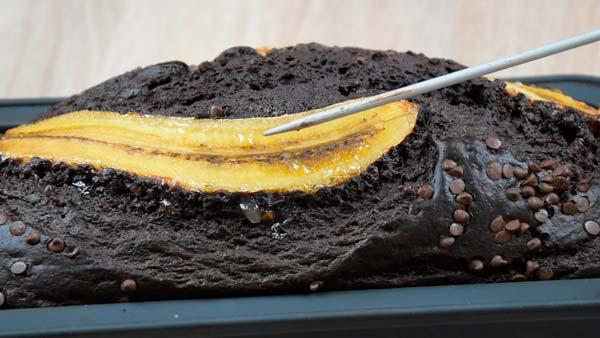 comprobar si el pan de plátano y chocolate saludable está bien hecho