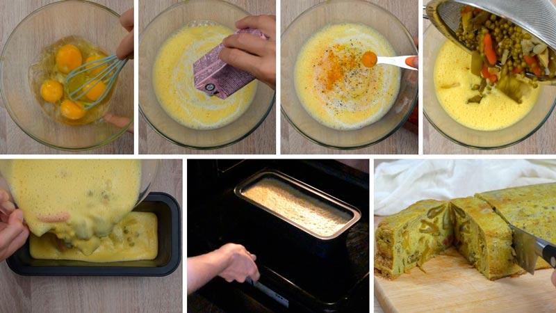 como hacer paso a paso pastel de menestra de verduras en conserva