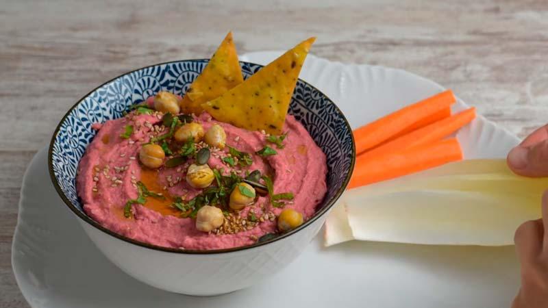 servir las 6 recetas de hummus con crudite o nachos