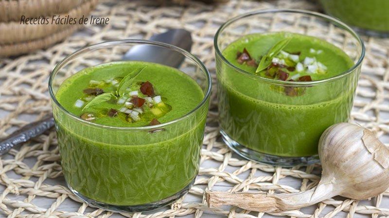 receta de gazpacho verde de espinacas nutritivo