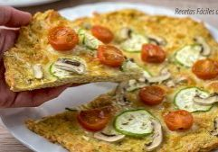 pizza con base de pollo al horno