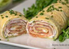 rollo salado de calabacin relleno de salmon y queso paso a paso